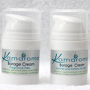 2 Bottles Borage Cream in 50ml white airless dispensers with silver label.
