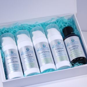 Open gift box showing contents of face cream, hand & nail cream, foot cream, borage cream and nourishing body oil.
